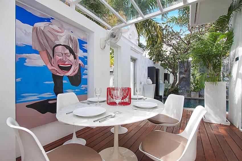 Outside dining table at Pratumnak Regal Villa in Pattaya