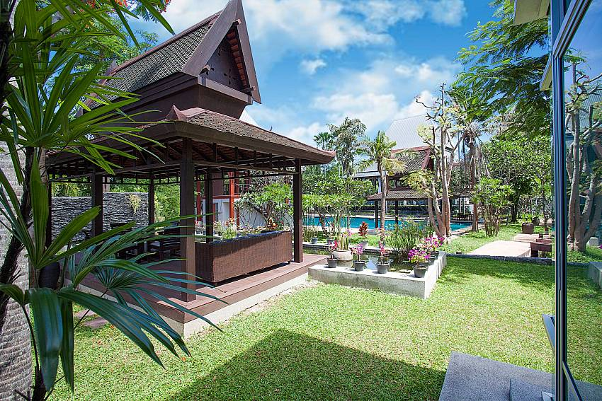 Pavilion in garden with private pool at Baan Mork Nakara Pattaya