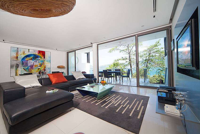 Modern airy lining room with dining terrace at Seductive Sunset Villa Patong A5 Phuket