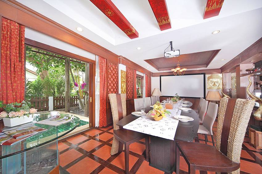 Dinning table in the house near the pool Of Baan Ruean Thai