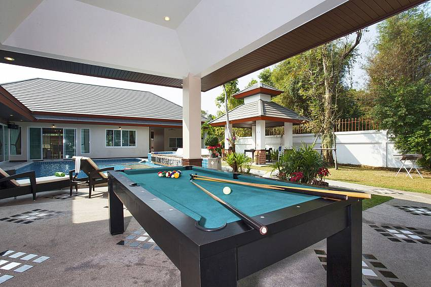 Snooker table outdoor near the pool Of Baan Piam Sanook