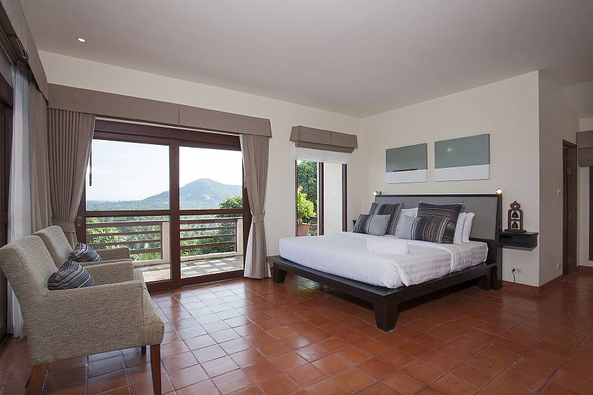 5. bedroom with private balcony at Cape Summitra Villa in Samui