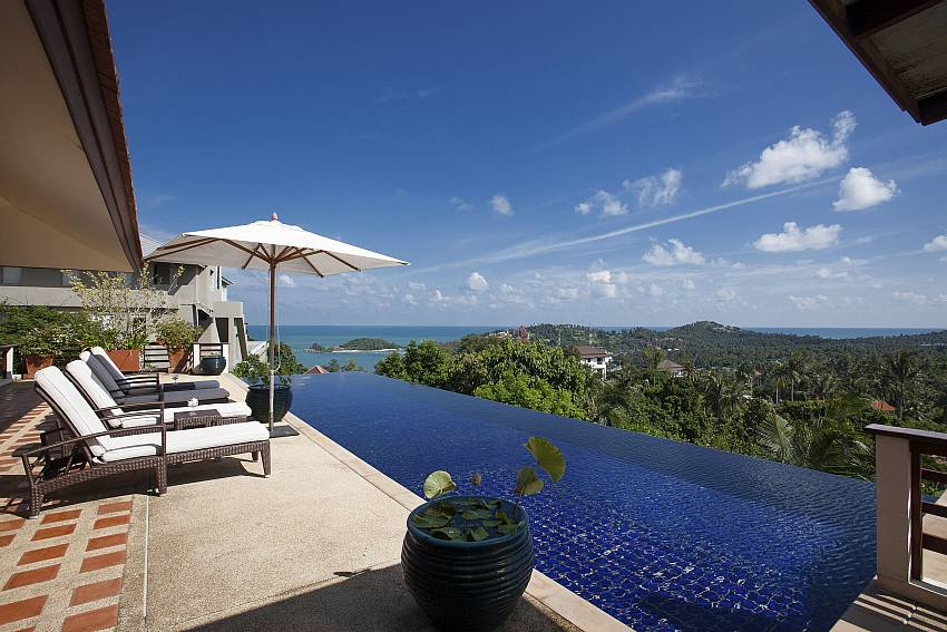 Sun beds direct by the private pool at Cape Summitra Villa Koh Samui