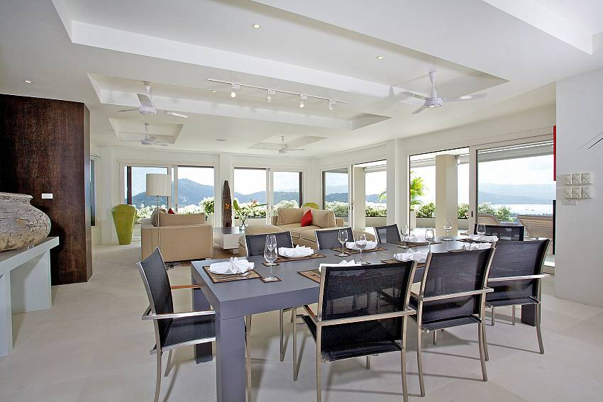 Open plan dining and living room at Sea View Summitra Panorama Villa in Samui