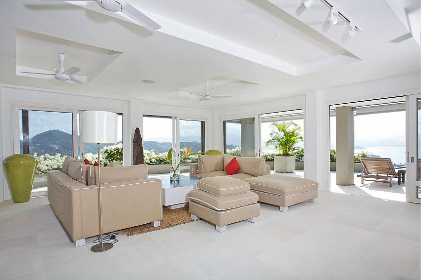 Huge living room with sea views at Summitra Panorama Villa in Koh Samui