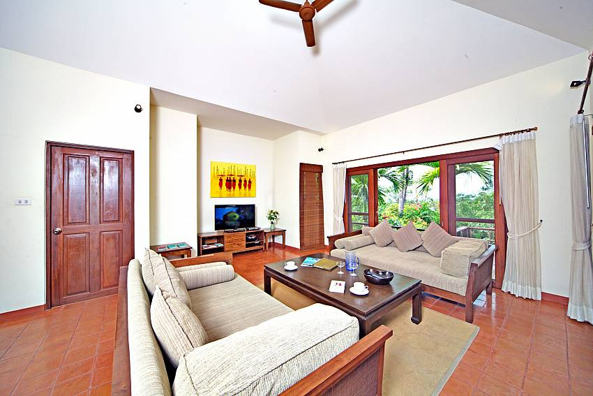 Comfortable sofas at the living room in Summitra Pavilion Villa No. 7 Koh Samui