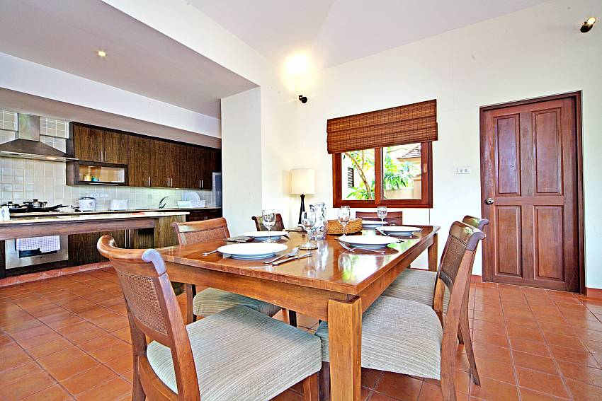 Open plan dining with modern kitchen at Summitra Pavilion Villa No. 7 Choeng Mon Samui