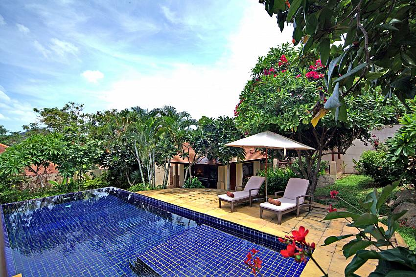 Sun beds by the private pool at Summitra Pavilion Villa No. 7 in Koh Samui