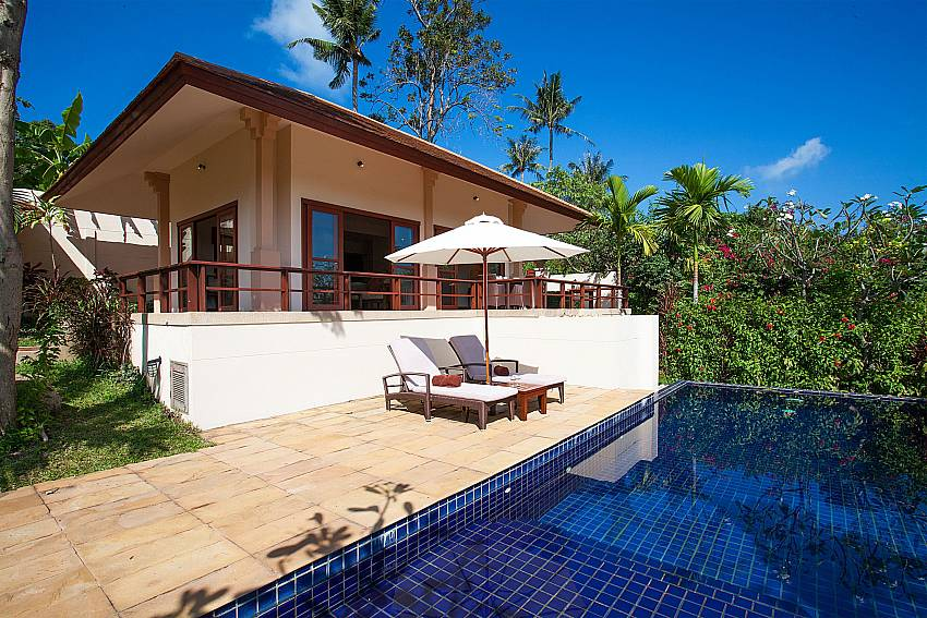 The private pool is just a few steps from your bedroom at Summitra Pavilion Villa No. 5 in Samui
