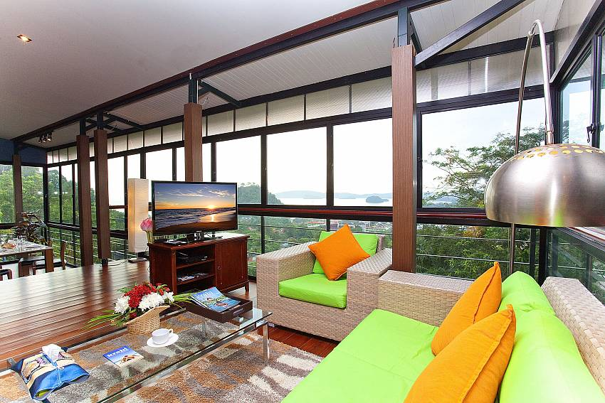 Living room with TV Of Krabi Sunset Hill Villa
