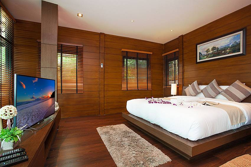 King size bed with TV at Krabi Sunset Hill Villa Ao Nang Krabi