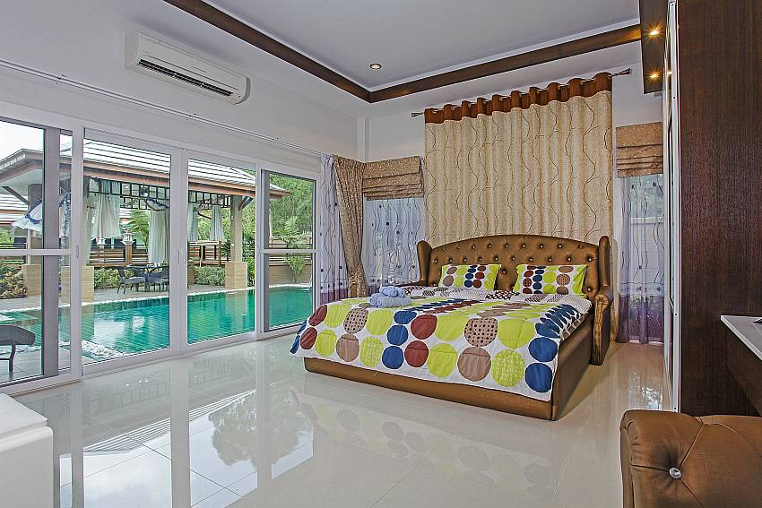 Direct pool access from master bedroom at Thammachat P3 Vints 130 Pattaya