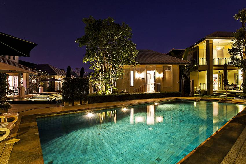 Swimming pool at night time Of Sala Retreat Villa