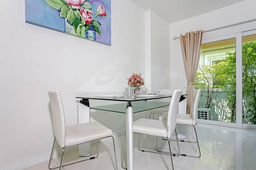Dining table at Rossawan Pool Villa in Pattaya