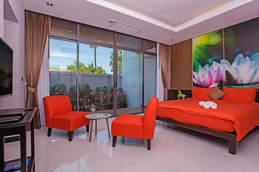 Bedroom colorful with sofa overlooking outside Of Equilibrium Rawai Villa (Second)