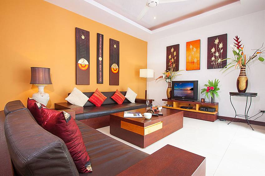 Big sofa with TV at the living room of Villa Lipalia 104 Koh Samui