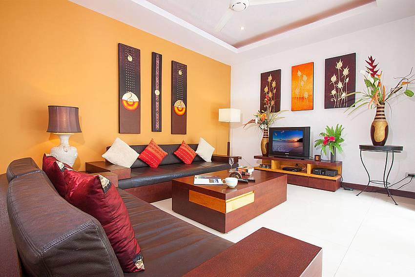 Big sofa with TV at the living room of Villa Lipalia 104 Koh Samui