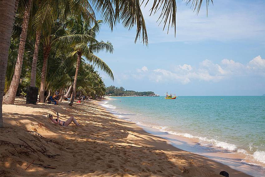 Idyllic beach in Mae Nam near Baan Maenam No.2 in Samui Thailand