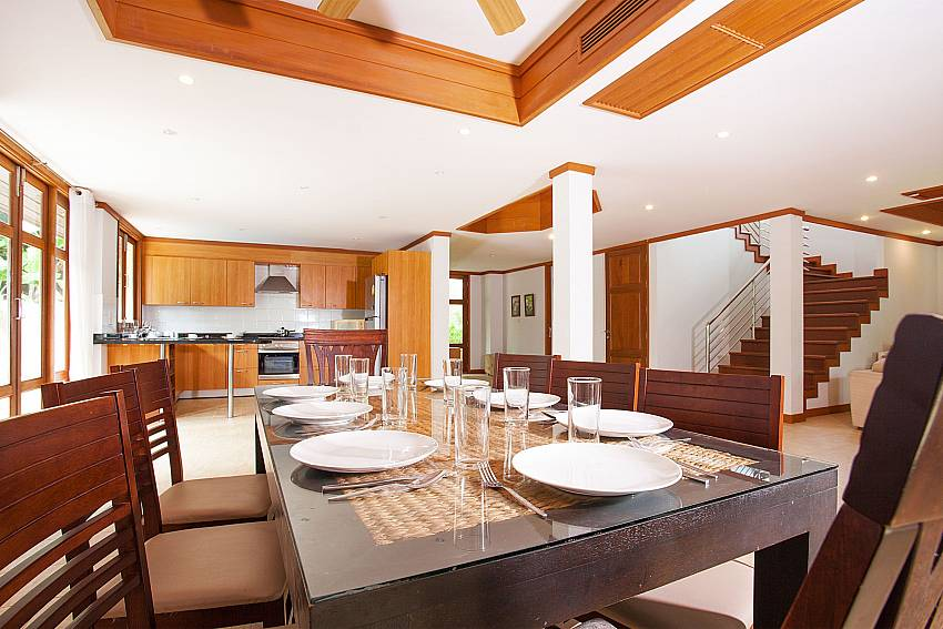 8 seat dining table and kitchen of Ban Talay Khaw B12 in Tongson Bay Koh Samui Thailand