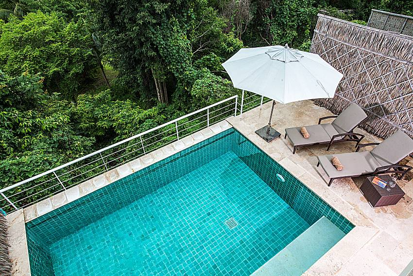 Top view down below see the pool of Baan Phu Kaew C4