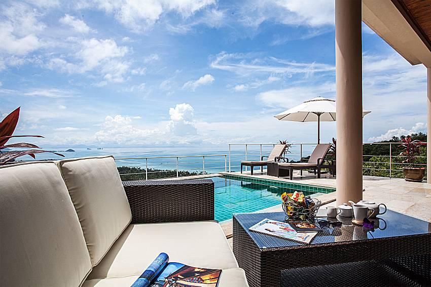 Sofa table near the pool of Baan Phu Kaew A2